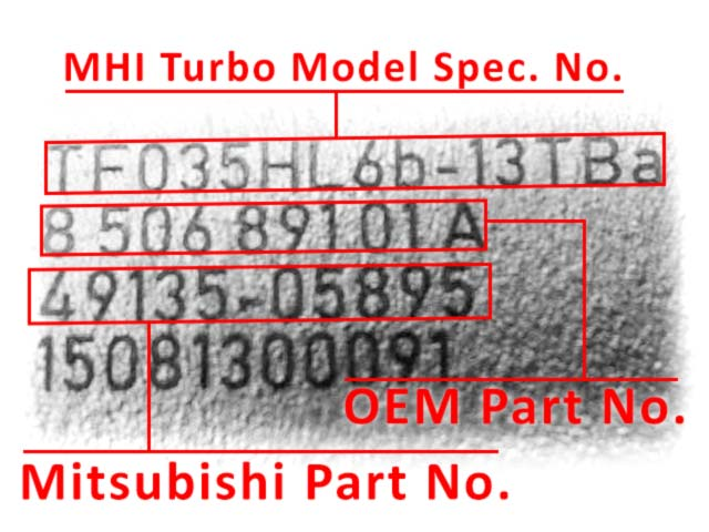 Номер турбокомпрессоров Mitsubishi